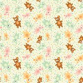 Seamless Pattern With Teddy Bears