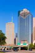 Houston skyline from Allen Parkway at Texas US USA