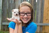 kid girl with puppy pet chihuahua playing happy with doggy outdoor