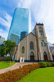 Houston cityscape and Antioch Baptist Church in Texas US