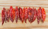 Chile de arbol seco dried hot Arbol pepper on wooden background