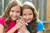 Twin sisters and puppy pet dog chihuahua playing together with doggy