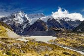 Mount Sefton and Hooker valley, Southern Alps, New Zealand