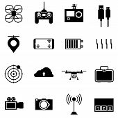 Black vector icons for quadrocopter set.