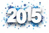 Happy 2015 new year with blue snowflakes. Vector illustration.