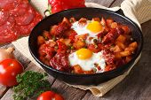 Fried Eggs With Chorizo in Flemish Recipe In The Pan