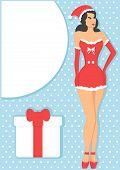 pin up girl in santa claus costume
