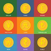 Flat Golden Coins. Currency Icons.