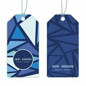 Vector abstract ice chrystals vertical round frame pattern tags set