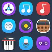 Set of sound and music mobile icons in flat design
