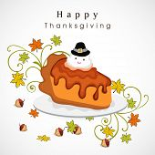 Delicious cake with bird in pilgrim hat on maple leaves decorated grey background for Happy Thanksgiving Day celebration.