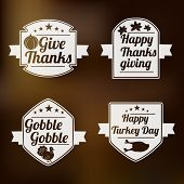 Vintage set of sticker, label and tag for Thanksgiving Day celebration on shiny brown background.