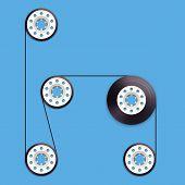 A vector illustration of a recordable bobbin of tape cassette. Letter H
