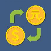 Currency Exchange. Dollar And Yuan.