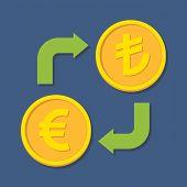 Currency Exchange. Euro And Turkish Lira.