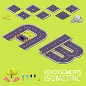 Road elements isometric. Road font. Letters A and B