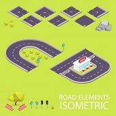 Road elements isometric. Road font. Letters C and D