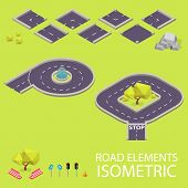 Road elements isometric. Road font. Letters P and Q