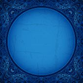 stock photo of indian blue  - Vintage vector circle floral ornamental border - JPG