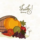 Thanksgiving Day celebration with stylish text and wooden basket full of vegetables and fruits, can be used as poster, banner or flyer.