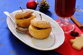 Baked Apples As Christmas Dessert And Mulled Wine