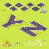 Road elements isometric. Road font. Letters Y and Z