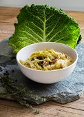 Savoy Cabbage Stew With Potatoes And Minced