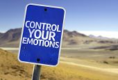 Control Your Emotions sign with a desert background
