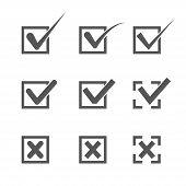 Set of nine different grey and white vector check marks