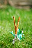 decorative small gardening tools and snowdrops  on grass