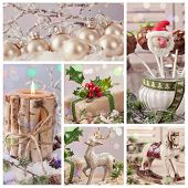 Collage of pastel colored christmas decorations