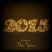 Floral decorated shiny golden text 2015 for Happy New Year celebrations.
