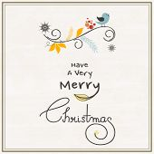 Merry Christmas celebrations greeting card design with singing love bird and wishing text on stylish background.