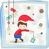 foto of merry chrismas  - Cute little kid in Santa cap holding a gift for Merry Christmas and other occasion - JPG