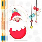 Merry Christmas celebration concept with hanging Santa Claus and firecrackers on stylish background.