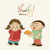 Cute little kids holding cooked chicken in plate for Happy Thanksgiving Day celebration.