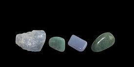 foto of calcite  - Green and blue gems calcite avventurine and isolated on black - JPG