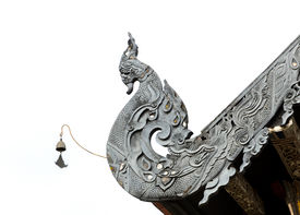 picture of apex  - Detail of Naga Lanna Gable apex of Buddhist temple roof in Thailand - JPG