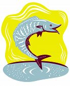 stock photo of game-fish  - Illustration of a wahoo fish jumping done in retro woodcut style - JPG