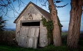 picture of shacks  - Color image of an abandoned shack on the side of the road - JPG