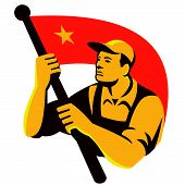 picture of waving  - Illustration of a Chinese Communist worker olding waving red flag with star done in retro style - JPG