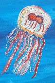 stock photo of jellyfish  - A vibrant painting of a jellyfish swimming under water - JPG