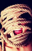 stock photo of kidnapped  - Tied up scared woman face - JPG