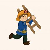 foto of fireman  - Fireman Theme Elements Vector - JPG