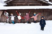 image of japan girl  - Little girl with funny scarecrows at historic Japanese village Shirakawa - JPG