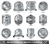 stock photo of blacksmith shop  - Blacksmith ironwork craft master metal label set isolated vector illustration - JPG