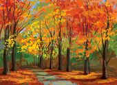 picture of fall day  - Pathway in  autumnal forest - JPG