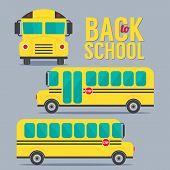 stock photo of driving school  - Front And Side Yellow Bus School Illustraiton - JPG