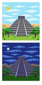 picture of ziggurat  - Natural landscape with the ancient aztec pyramid - JPG