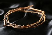 stock photo of crown-of-thorns  - Crown of thorns on black cloth - JPG